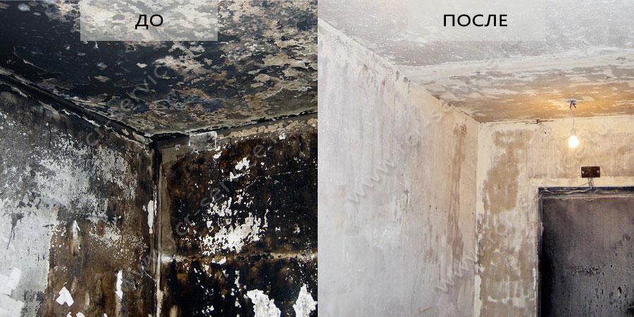 как очистить стены от сажы после пожара